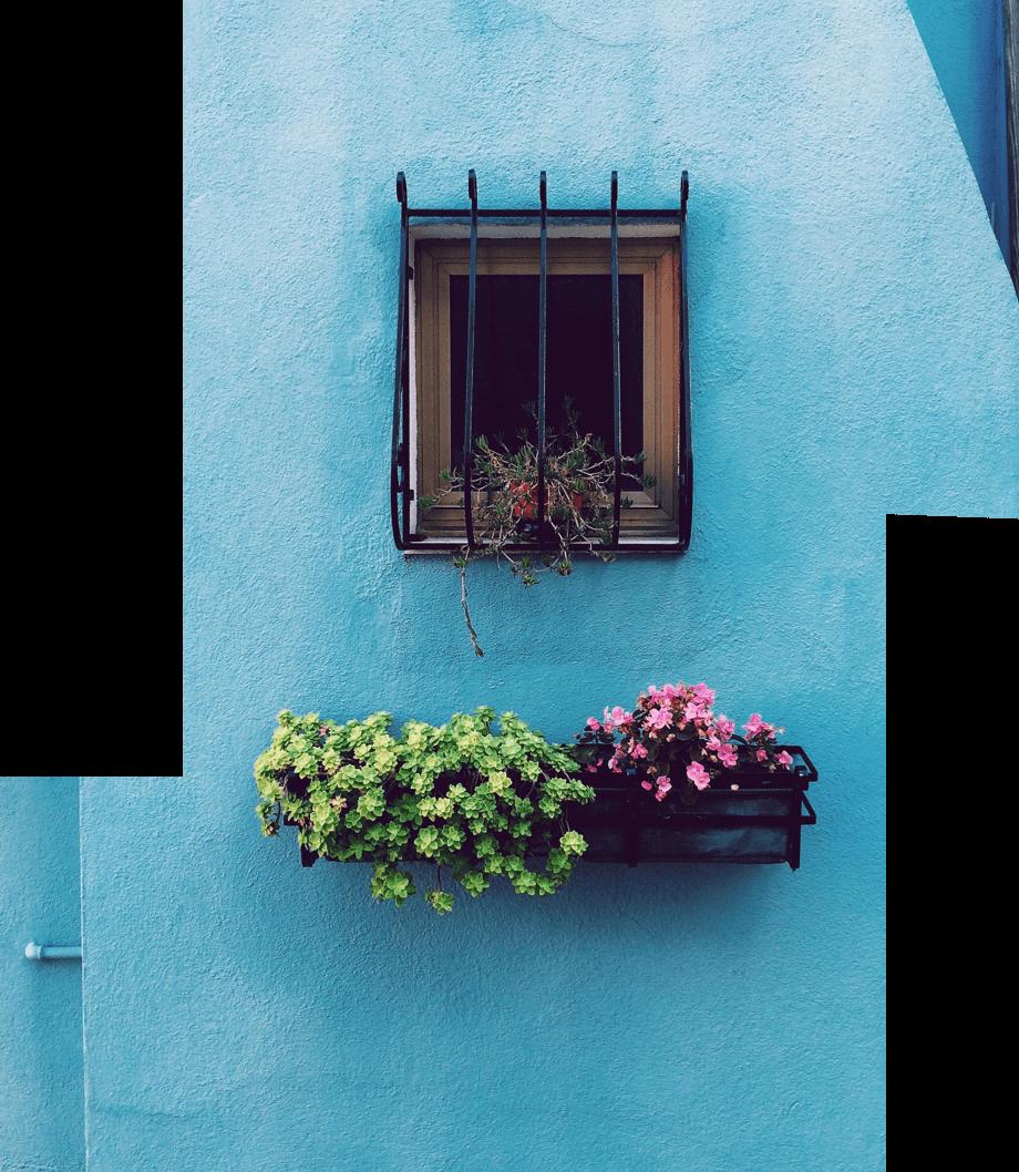 imagem de uma uma parede azul com uma janela com gradiamento e um canteiro por baixo